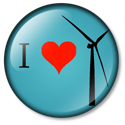 I heart wind turbines button blue