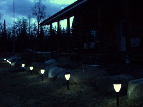 solar yard lights at night
