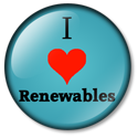 I heart renewables button blue