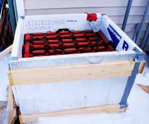 forklift battery bank outside insulated box